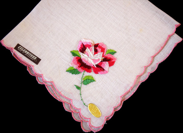 Embroidered Pink Rose on Pink Vintage Handkerchief, Celebritees