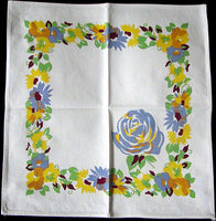 Floral and Periwinkle Rose Vintage Napkins, Set of 8