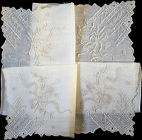Fancy Embroidered Corners with Bows Vintage Madeira Handkerchief