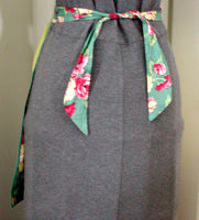 Chartreuse & Green Floral Polished Cotton Vintage Half Apron