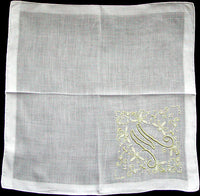 Madeira Embroidered Chartreuse Monogram M Vintage Handkerchief