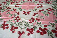 Cherries Heart Shaped Vines Pink Vintage Tablecloth 48x54