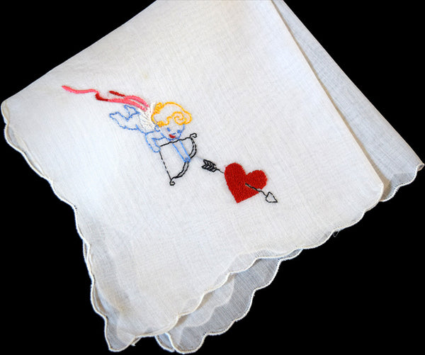 Cherub w Bow & Arrow Heart Valentine's Day Vintage Handkerchief