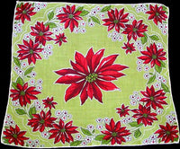 Red Poinsettias on Chartreuse Vintage Christmas Handkerchief