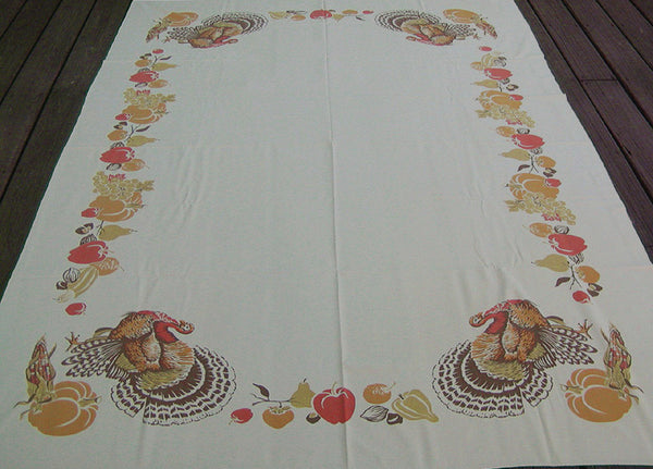CHP Thanksgiving Vintage Tablecloth California Hand Prints 60x80