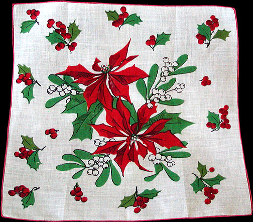 Red Poinsettias Vintage Christmas Handkerchief