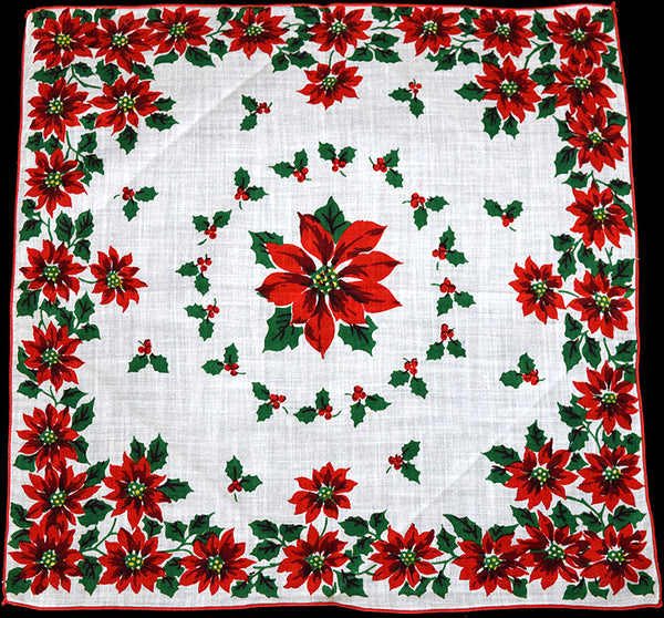 Christmas Poinsettias Vintage Handkerchief, New Old Stock