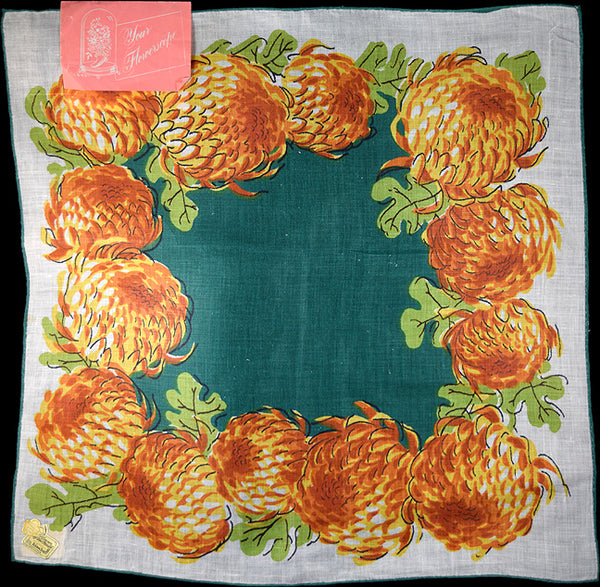 November Flower of the Month Vintage Linen Handkerchief Kimball