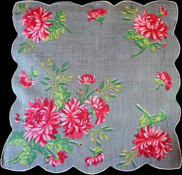 Chrysanthemums on Gray Irish Linen Vintage Handkerchief 15""