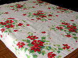 Wilendur Red Clematis Vintage Tablecloth 48x54