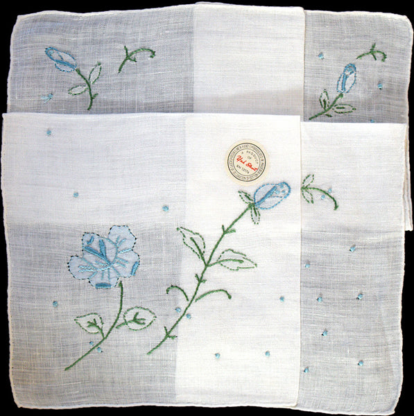 Blue Embroidered Roses White Linen Vintage Handkerchief Madeira