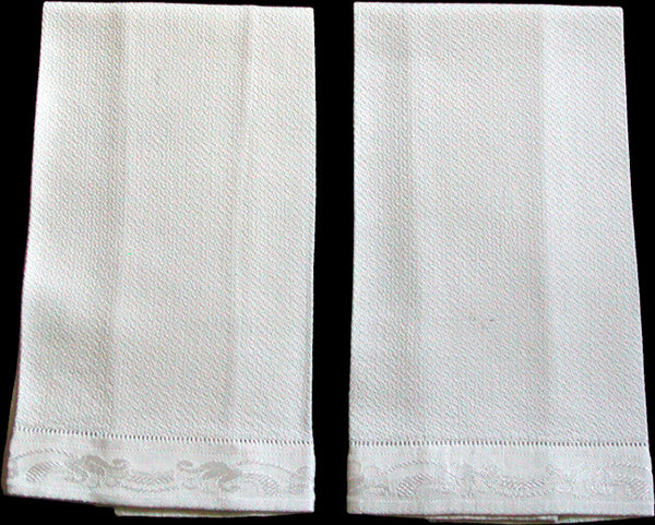 Hemstitched Cotton & Rayon Vintage Guest Towels, Pair