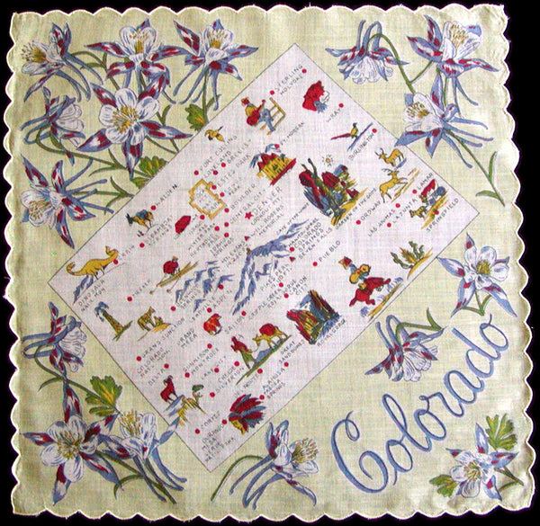 Colorado Souvenir State Map Vintage Handkerchief, Yellow