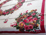 Color-fornia Fruit and Floral Wreath Vintage Tablecloth 51x51