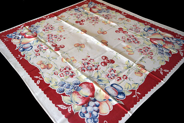 Bucilla Fruit Cocktail Vintage Tablecloth 44x46