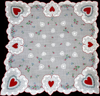Lacy Valentine Hearts & Flowers Vintage Handkerchief