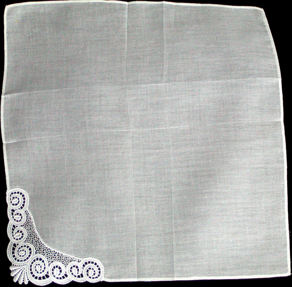 Fancy White Lace Corner Scrolls Vintage Handkerchief