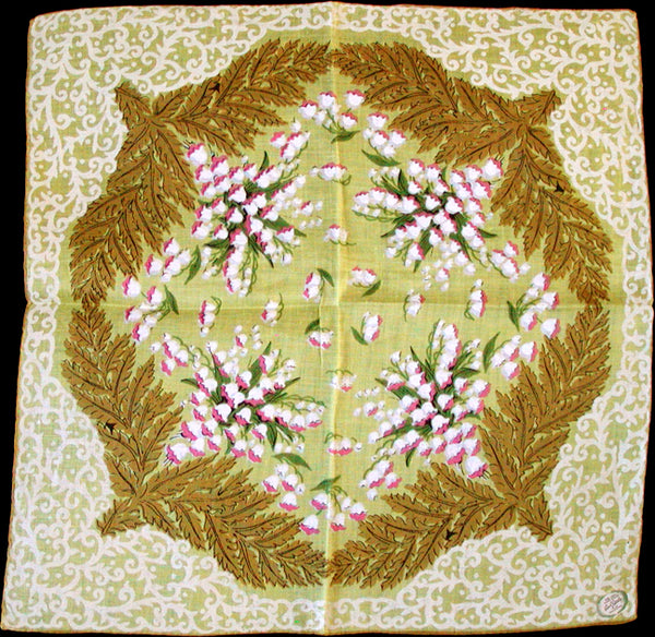 Carol Stanley Lily of the Valley Vintage Linen Handkerchief