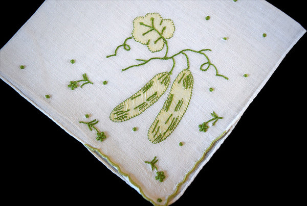 Hand Embroidered Garden Cucumbers on Linen Vintage Handkerchief