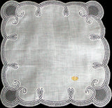 Curlicue White Linen Lace Border Vintage Wedding Handkerchief