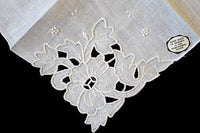 Cutwork Embroid White Floral Vintage Madeira Linen Handkerchief
