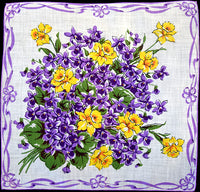 Daffodils and Purple Violets Vintage Handkerchief