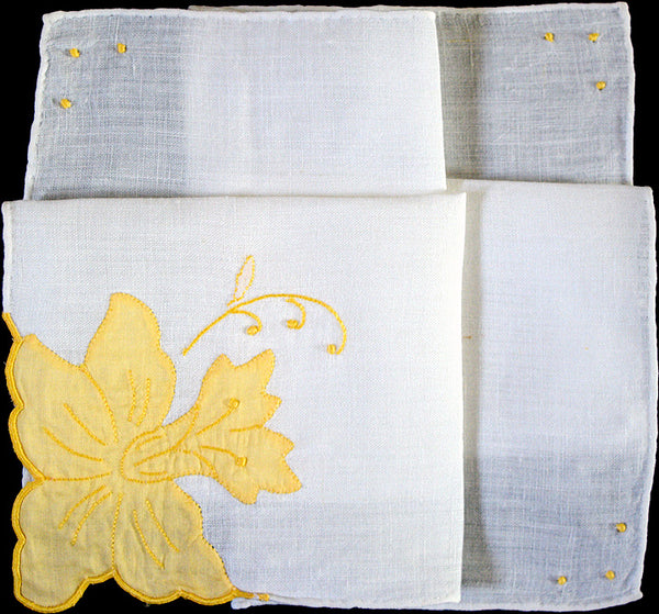 Applique Yellow Narcissus on Linen Vintage Handkerchief Madeira