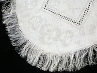 Art Nouveau Pansies Damask Linen Fringed Mats or Doilies MWT, Set of 6