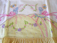 PR Southern Belles Embroidered Vintage Pillowcases Yellow Ruffle