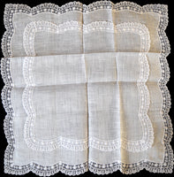 Double Lace Border and White Linen Vintage Wedding Handkerchief