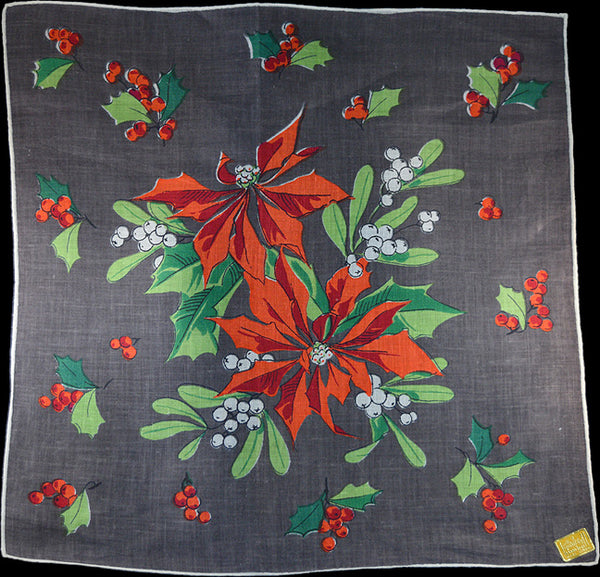 December Flower of the Month Vintage Linen Handkerchief Kimball