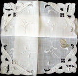 Madeira Embroidery Cutwork Linen Wedding Handkerchief MWT Desco