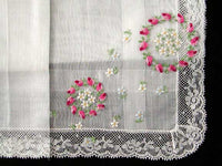 Desco Embroidered Floral Wreath Vintage Handkerchief w Lace