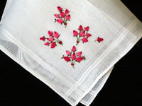 Desco Embroidered Pink Rosebuds Vintage Handkerchief MWT