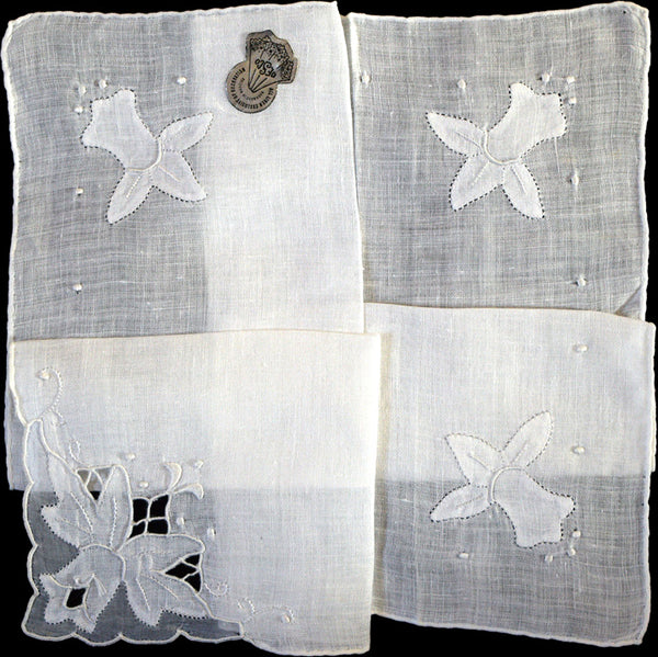 Desco Embroid Daffodil White Linen Vintage Handkerchief Madeira