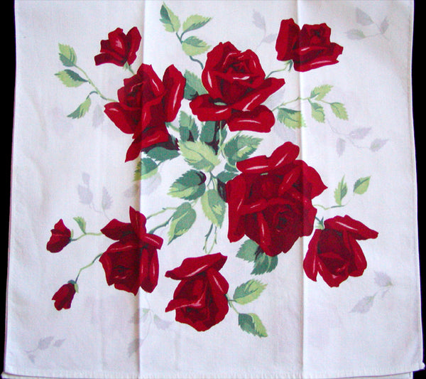 Red Royal Rose Wilendur Vintage Kitchen Towel, Unused