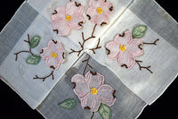 Dogwood Organdy Trembler Applique w Madeira Embroidery, Vintage Handkerchief