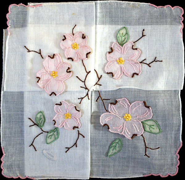 Detached Organdy Dogwood Applique Vintage Handkerchief Madeira