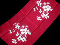 Dogwood on Red Vintage Wilendur Tea Towel Kitchen Dishtowel
