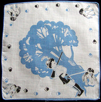 Boy and His Dog Vintage Child's Handkerchief