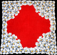 Gray Dogwood on Red Vintage Handkerchief