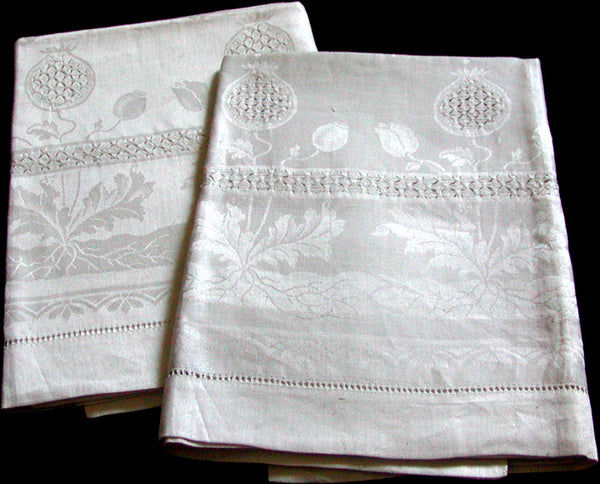 Oversize Antique Damask Linen Towels w Faggotting, Pair