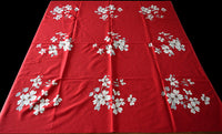 Dogwood on Red Vintage Wilendur Tablecloth 48x53