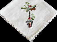 Christmas Lanterns & Pine Cones Embroidered Vintage Handkerchief