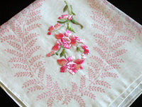 Flowers Embroidered in Pink w Print Motif Vintage Handkerchief