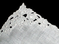 Floral Cutwork Border Vintage Linen Handkerchief Madeira Embroidery