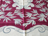 Gray Scrolls and Leaves on Wine Vintage Linen Tablecloth 50x68