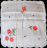 Christmas Poinsettias Embroidered Vintage Handkerchief w Lace