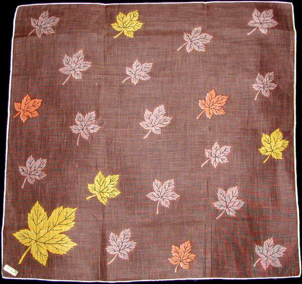 Fall Colored Leaves Vintage Irish Linen Handkerchief 15 inches