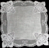 Fancy Ornate White Linen and Lace Vintage Wedding Handkerchief